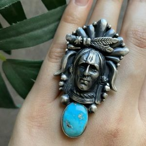 SterlingSilver IndianChiefHeadTurquoiseRing.Signed